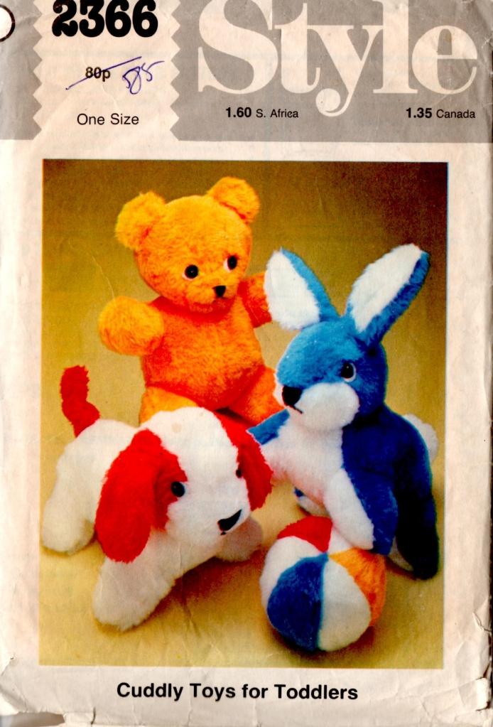 Vintage toy rabbit bear dog pattern